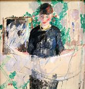 Rik Wouters Woman in Black Reading a Newspaper oil